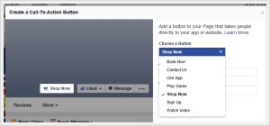Facebook Call to Action options