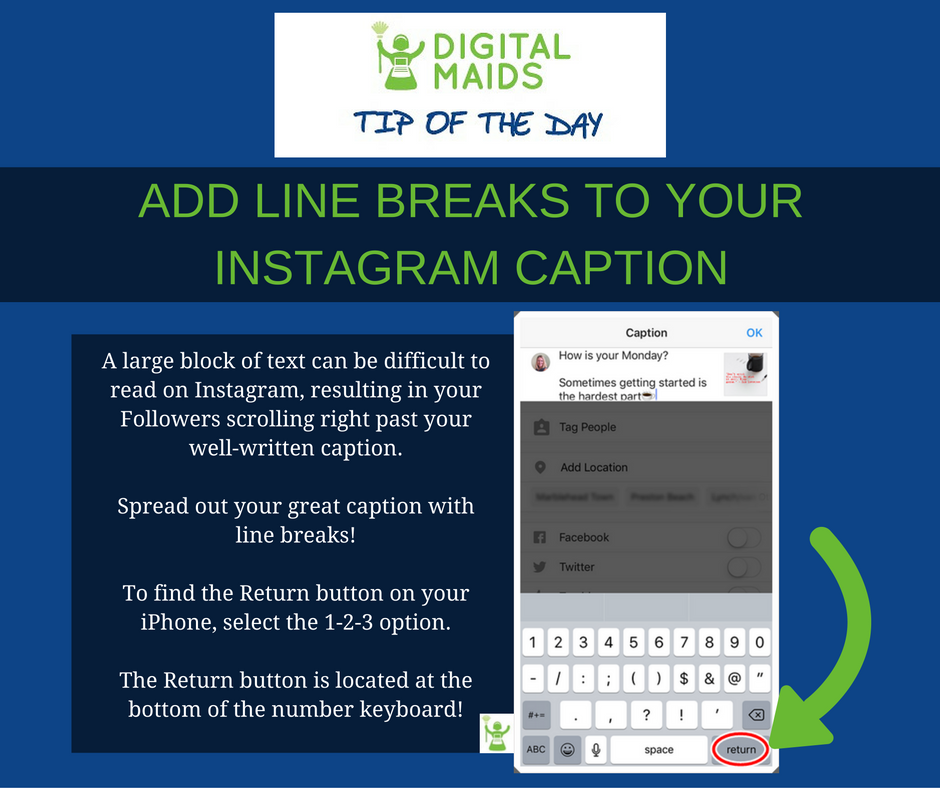 Instagram Caption Tip Digital Maids Marblehead MA